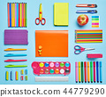 Bright composition of school stationery. Group stationery set forth in composition. 44779290