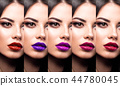 Collection: eyes and lips red, purple hues. The palette of lipsticks. Close-up 44780045