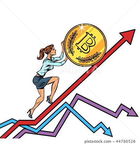 woman businesswoman roll a bitcoin coin up 44780526