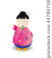 Watercolor japanese doll 44780738