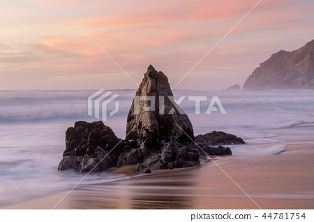 Coastal rock stack at Gray Whale Cove State Beach 44781754