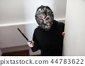 Female model with Jason mask, Halloween 44783622