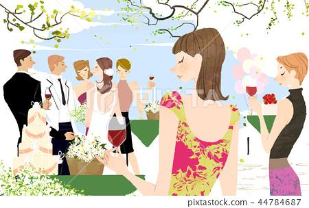 愉快,婚姻,婚禮,例證 44784687
