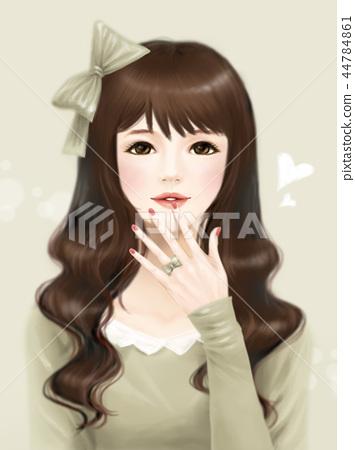 소녀,생활,일러스트 44784861