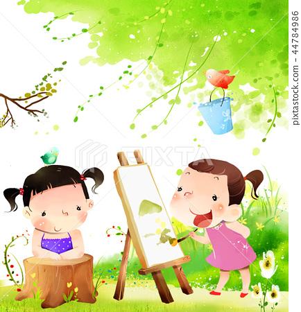 儿童,同心,插图 44784986