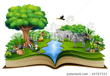 Open book with the animal cartoon playing in the r 44787355