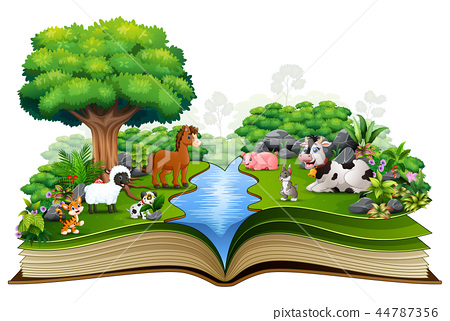 Open book with animal farm playing in the park 44787356