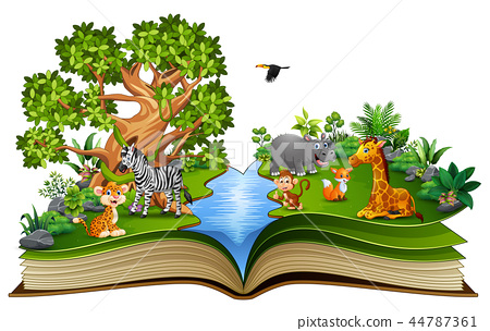 Open book with the animal cartoon playing in the r 44787361
