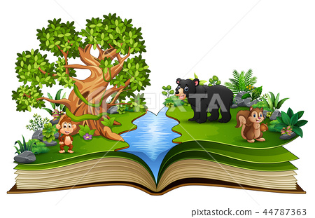 Open book with the animal cartoon playing in the r 44787363