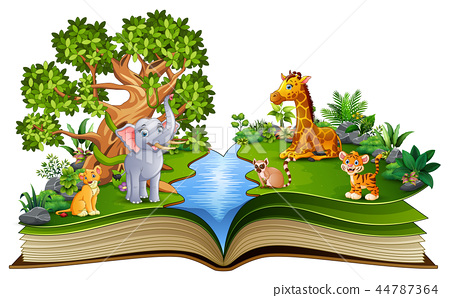 Open book with the animal cartoon playing in the r 44787364