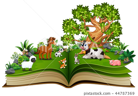 Open book with farm animal cartoon playing in the  44787369