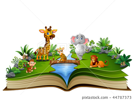 Open book with the animal cartoon playing in the r 44787373