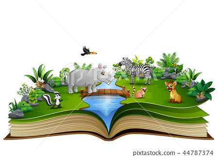 Open book with the animal cartoon playing in the r 44787374