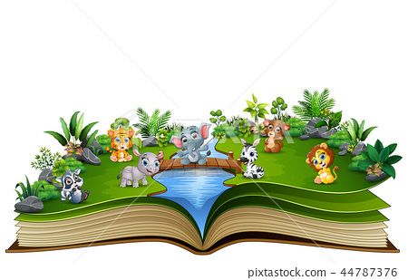Open book with baby animal cartoon playing in the  44787376