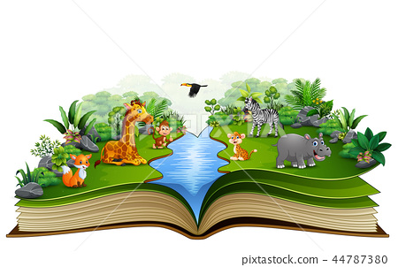 Open book with animal cartoon playing on the river 44787380