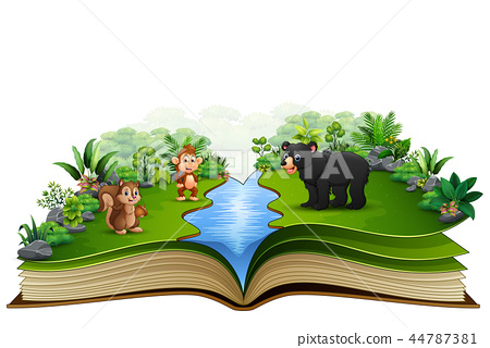 Open book with the animal cartoon playing in the r 44787381