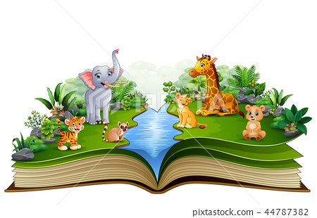 Open book with animal farm cartoon playing in the  44787382