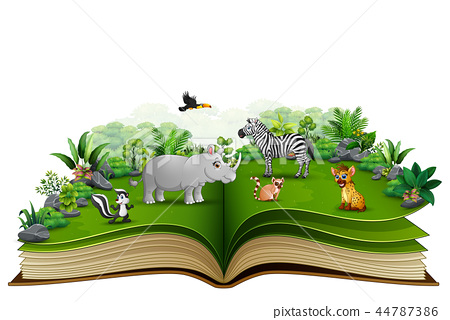 Open book with animal cartoon playing in the park 44787386