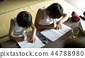 做家庭作業的男孩暑假 44788980