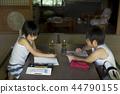 做家庭作業的男孩暑假 44790155