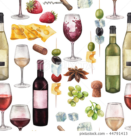 Watercolor Wine Glasses Bottles And Other Stock Illustration 44791413 Pixta