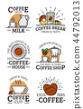 Coffee vector liear icons with cup, mug and beans 44792013