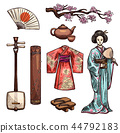 Symbols of Japan and japanese culture icons 44792183