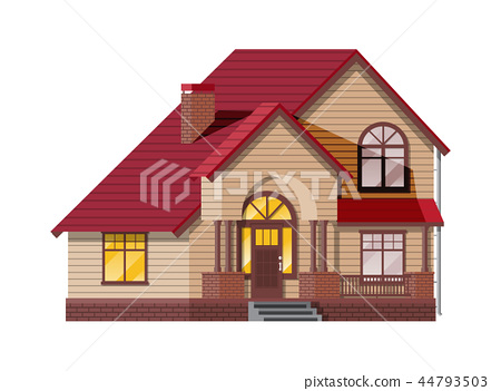 Suburban family house. Countryside wooden house 44793503