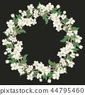 Cherry blossom round pattern on black background 44795460