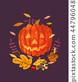 Abstract Halloween Jack-O-Lantern and leaves 44796048