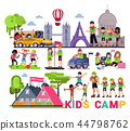 Kids camp vector children camper characters and camping activity on summer vacation illustration set 44798762