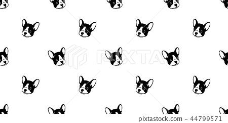 Dog seamless pattern french bulldog vector tile 44799571