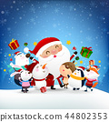 Christmas Snowman Santa claus and animal cartoon  44802353