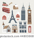 Set of cute winter city, town and village icons. Hand drawn houses, church, Eiffel and Big Ben tower 44803668