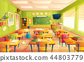 school classroom interior, math training room. Educational concept, blackboard, table college 44803779