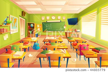school classroom interior, math training room. Educational concept, blackboard, table college 44803779