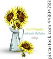 Sunflowers bouquet watercolor Vector. Floral 44804783