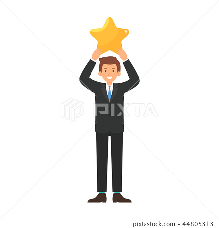 Businessman give a big star to rating cartoon 44805313