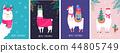 Llama winter illustration, cute design for nursery, poster, Merry christmas, birthday greeting card 44805749