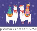 Llama winter illustration, cute design for nursery, poster, Merry christmas, birthday greeting card 44805750