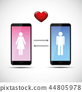 online dating app concept with man and woman pictogram 44805978