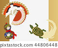 Good material for cranes and turtles. Japanese pattern. Collection of material of crane turtle and pine. 44806448