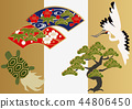 Good material for cranes and turtles. Japanese pattern. Collection of material of crane turtle and pine. 44806450