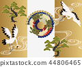 Good material for cranes and turtles. Japanese pattern. Collection of material of crane turtle and pine. 44806465