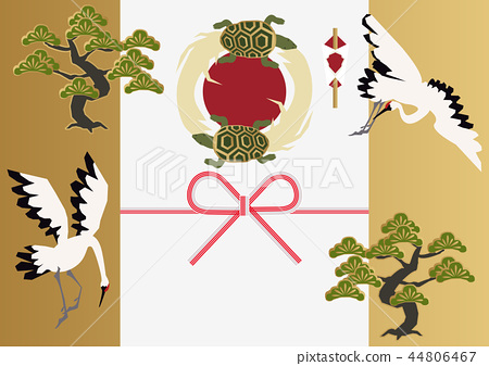 Good material for cranes and turtles. Japanese pattern. Collection of material of crane turtle and pine. 44806467