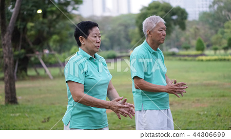 Asian Elderly couple Practice Tai chi exercise  44806699