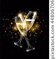 Sparkling glasses of champagne on black background, bokeh effect 44806706