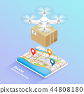 Drone delivery service technology. Vector 44808180