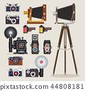 Antique camera flat icons. Vector illustration. 44808181
