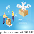 Drone delivery service technology. Vector 44808182